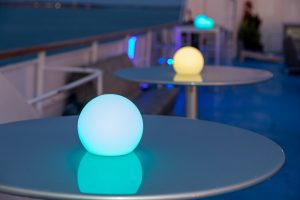 Glow orbs set to match the company logo colors