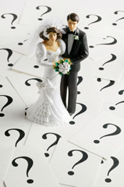 bride and groom with questions