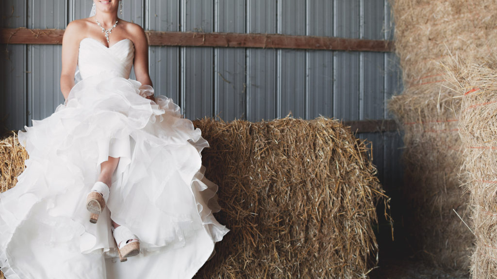 wedding with hay bales